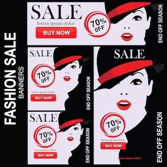 Zestaw banerów sprzedaży mody