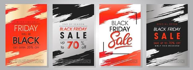 Zestaw banerów sprzedaży w czarny piątek. oferty specjalne z napisami i pociągnięciami pędzla grunge. szablony sprzedaży idealne do wydruków, ulotek, banerów, promocji, ofert specjalnych, reklam, kuponów i innych.