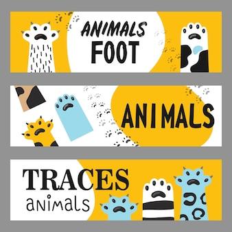Zestaw banerów stóp zwierząt. kocie łapy i pazury ilustracje z tekstem na białym i żółtym tle. ilustracja kreskówka