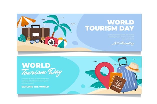 Zestaw banerów światowego dnia turystyki