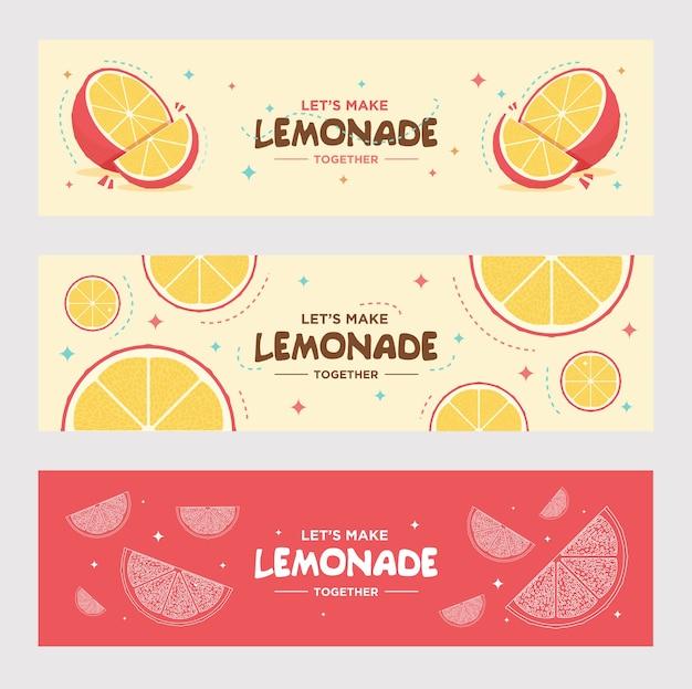 Zestaw banerów świeżych lemoniady. pomarańcza, cytryna, napój