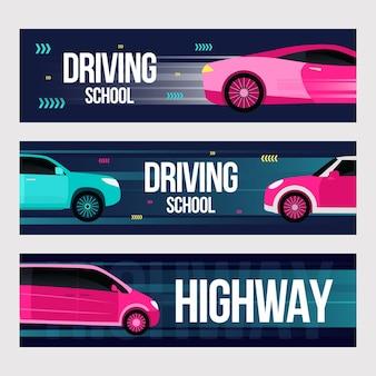 Zestaw banerów szkoły jazdy. szybkie samochody w ruchach ilustracje z tekstem i ramkami.