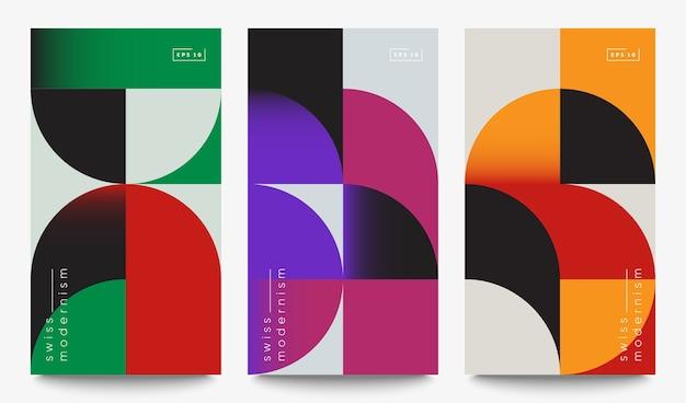 Zestaw banerów szwajcarskiego modernizmu. proste kształty i formy geometryczne.