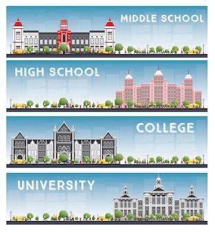Zestaw banerów uniwersyteckich, licealnych i studenckich.