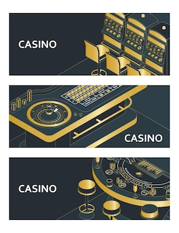 Zestaw banerów w kasynie. stół do ruletki, automat i black jack