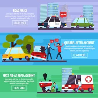 Zestaw banerów wypadków drogowych