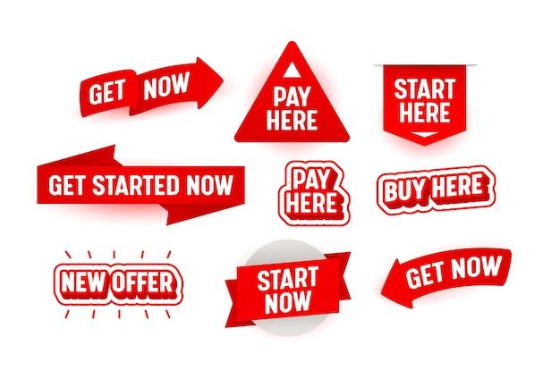 """Zestaw banerów zacznij tutaj teraz na białym tle. nowa oferta, kup i zapłać tutaj czerwone znaki, tagi lub plakietki do promocji w sieci, reklamy sprzedaży, naklejki lub przyciski """"rozpocznij"""". ilustracja wektorowa"""