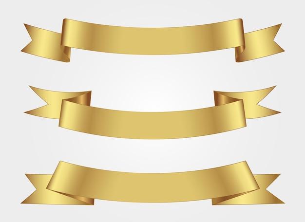 Zestaw banerów złota wstążka