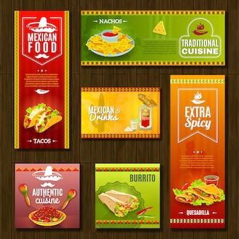 Zestaw banerów żywności meksykańskiej