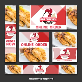 Zestaw banerów żywności online zamówienia
