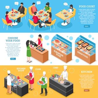 Zestaw banery restauracji fastfood