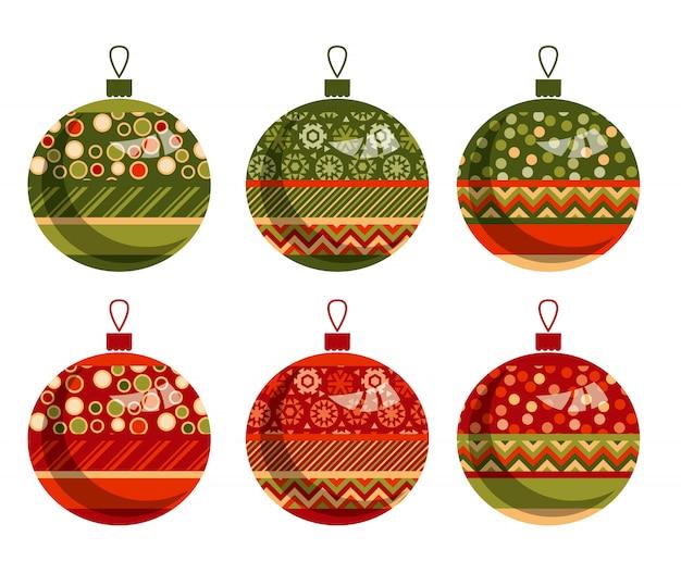 Zestaw baniek lub kulek tradycyjnych ornament patchwork xmas