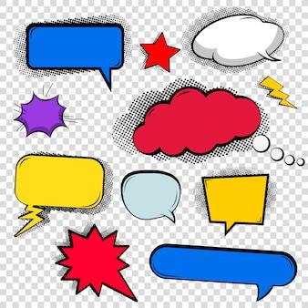 Zestaw baniek, rozmowa w chmurze, różne kształty w komiksowym stylu.