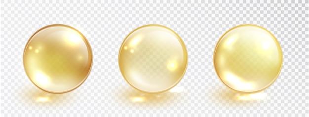 Zestaw bańki złota oleju na przezroczystym tle.