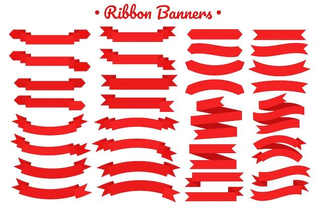 Zestaw banner czerwoną wstążką. płaska czerwona wstążka do promocji, etykieta rabatowa w sprzedaży produktów