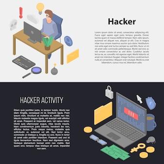 Zestaw banner hakerów, izometryczny styl