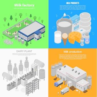 Zestaw banner nowoczesnej fabryki mleka, izometryczny styl