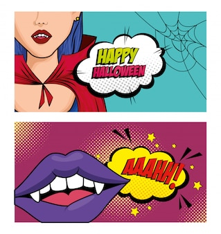 Zestaw banner pop-artu w stylu halloween