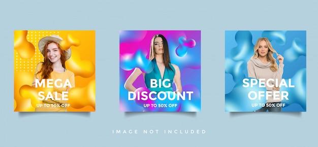 Zestaw banner promocji promocja sprzedaż mediów społecznościowych