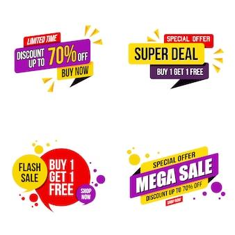 Zestaw banner promocyjny Mega nowoczesny szablon sprzedaży