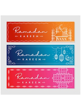 Zestaw banner ramadan w stylu linii sztuki