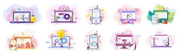 Zestaw banner rozwoju strony internetowej. programowanie stron www i tworzenie responsywnych interfejsów na komputerze. ilustracja w stylu kreskówki