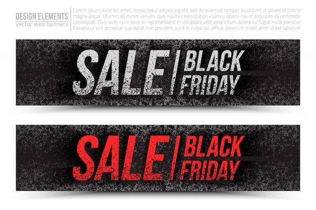 Zestaw banner sprzedaży internetowej czarny piątek