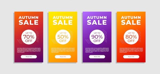 Zestaw banner sprzedaży jesień