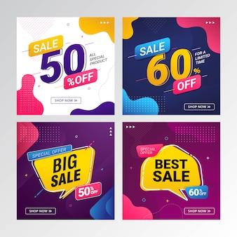 Zestaw banner sprzedaży oferta rabat cena