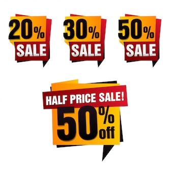 Zestaw banner sprzedaży papieru. sprzedam tło. wielka wyprzedaż. znacznik sprzedaży. plakat sprzedaży. oferta specjalna