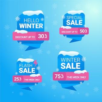 Zestaw banner sprzedaży zimowej zniżki