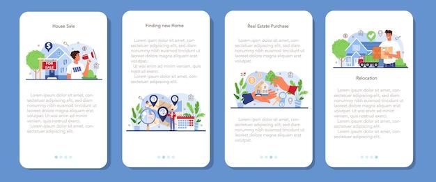 Zestaw bannerów aplikacji mobilnej agencji nieruchomości. relokacja