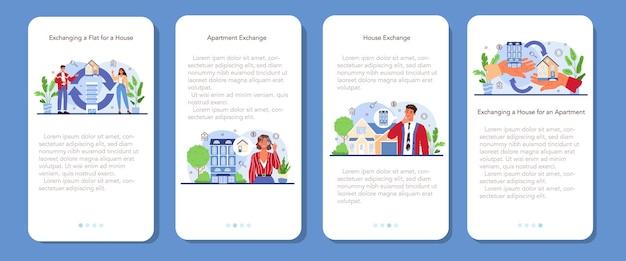 Zestaw bannerów aplikacji mobilnej agencji nieruchomości. wykwalifikowana usługa pośrednika w obrocie nieruchomościami. wymiana domu i mieszkania. handel nieruchomościami. płaska ilustracja wektorowa