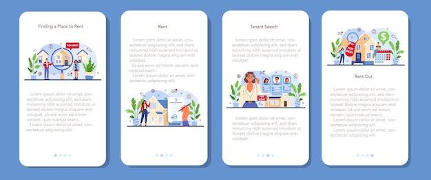 Zestaw bannerów aplikacji mobilnej agencji nieruchomości. wykwalifikowany pośrednik w obrocie nieruchomościami
