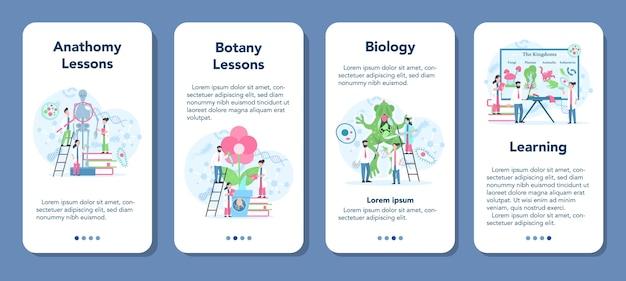 Zestaw bannerów aplikacji mobilnej biologii. naukowiec badający człowieka i przyrodę. lekcja anatomii i botaniki. idea edukacji i eksperymentu.