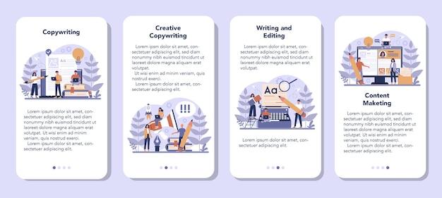 Zestaw bannerów aplikacji mobilnej copywriter. idea pisania tekstów, kreatywność i promocja. tworzenie wartościowych treści i praca jako wolny strzelec.