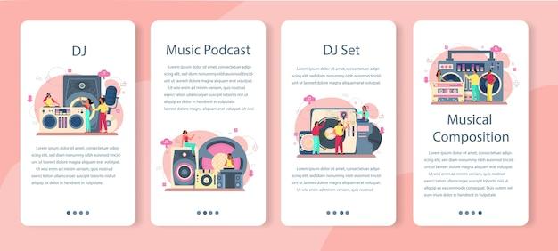 Zestaw bannerów aplikacji mobilnej dj