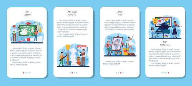 Zestaw bannerów aplikacji mobilnej edukacji artystycznej. student posiadający narzędzia artystyczne, uczący się rysowania i rękodzieła. zajęcia z gry na instrumencie, tańca, aktorstwa i rzeźby. płaska ilustracja wektorowa