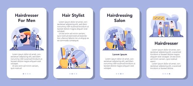 Zestaw bannerów aplikacji mobilnej fryzjer