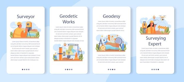 Zestaw bannerów aplikacji mobilnej geodeta. technologia geodezyjna