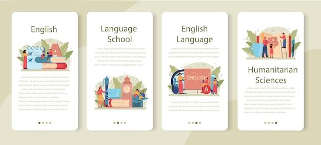 Zestaw bannerów aplikacji mobilnej klasy angielskiej. ucz się języków obcych w szkole lub na uniwersytecie. idea globalnej komunikacji. nauka słownictwa obcego.
