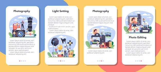 Zestaw bannerów aplikacji mobilnej kursu szkolnego fotografii.