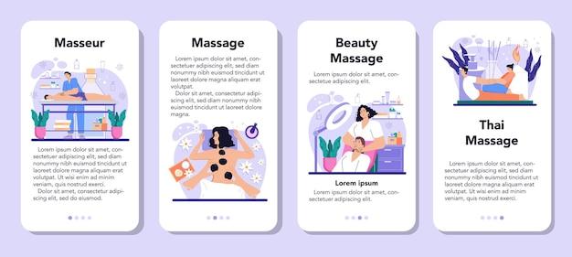 Zestaw bannerów aplikacji mobilnej masażysty. procedura spa w salonie kosmetycznym. masaż pleców i terapia relaksacyjna. terapeuta masuje klienta na stole. ilustracja na białym tle płaski