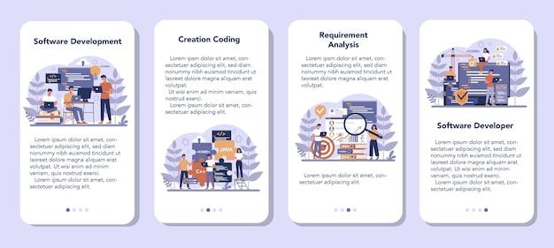 Zestaw bannerów aplikacji mobilnej oprogramowania. idea programowania i kodowania, rozwój systemu. technologia cyfrowa. firma tworząca oprogramowanie pisząca kod.