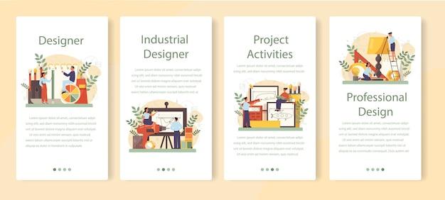 Zestaw bannerów aplikacji mobilnej projektanta przemysłowego.