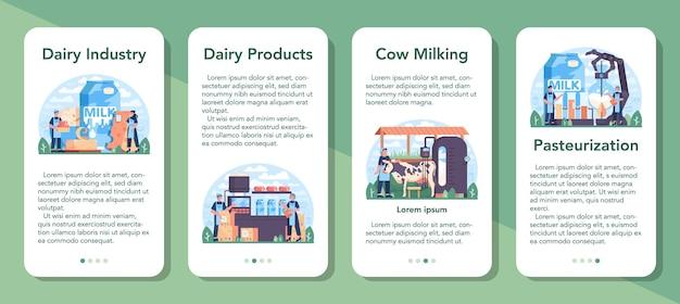 Zestaw bannerów aplikacji mobilnej przemysłu mleczarskiego. naturalny produkt mleczny na śniadanie. dojenie krów, pasteryzacja nabiału, fermentacja i mleko, ser, produkcja masła. płaska ilustracja wektorowa