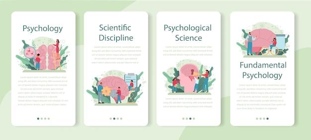 Zestaw bannerów aplikacji mobilnej psychologii. badanie zdrowia psychicznego i emocjonalnego. studiowanie umysłu i zachowania człowieka.