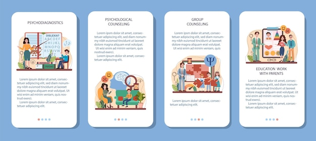 Zestaw bannerów aplikacji mobilnej szkoły psychologii. szkolny psycholog