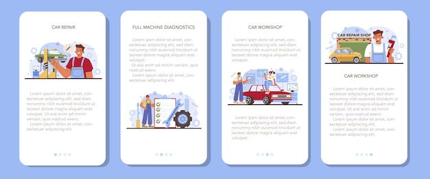 Zestaw bannerów aplikacji mobilnej usługi naprawy samochodów. samochód został naprawiony