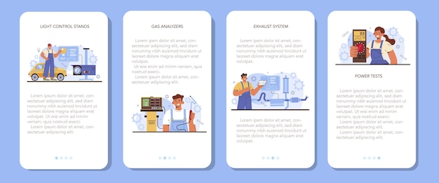 Zestaw bannerów aplikacji mobilnej usługi naprawy samochodów. sprzęt diagnostyczny serwisu samochodowego. mechanik samochodowy w mundurze za pomocą specjalnych narzędzi do sprawdzania samochodu. ilustracja wektorowa płaski.